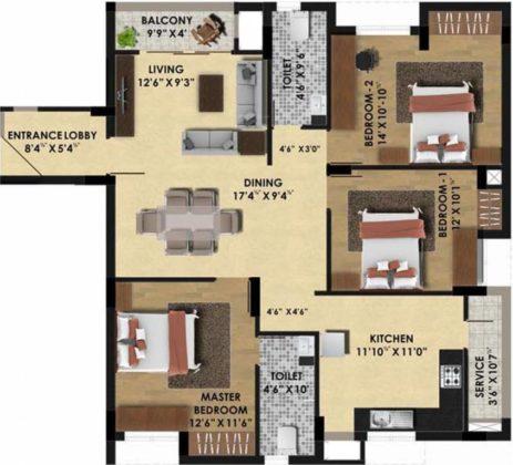 pine-ridge-floor-plan-floor-plan-3928951-463x420 New Apartments Flats in Velachery for Sale