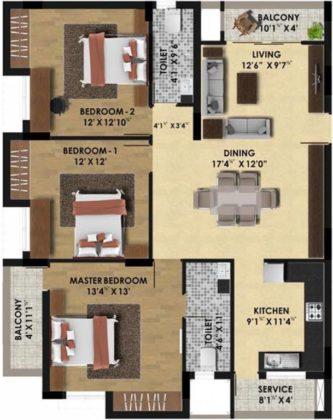 pine-ridge-floor-plan-floor-plan-3928954-333x420 New Apartments Flats in Velachery for Sale