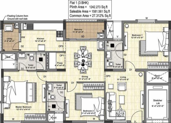 tuxedo-floor-plan-floor-plan-3127335-585x420 New Apartments Flats in Velachery for Sale