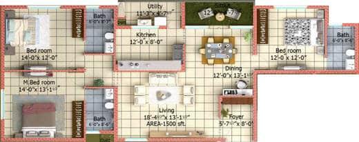 vivendi-ventures-masken-heights-floor-plan-3bhk-3t-1800-sq-ft-507082 New Apartments Flats in Velachery for Sale