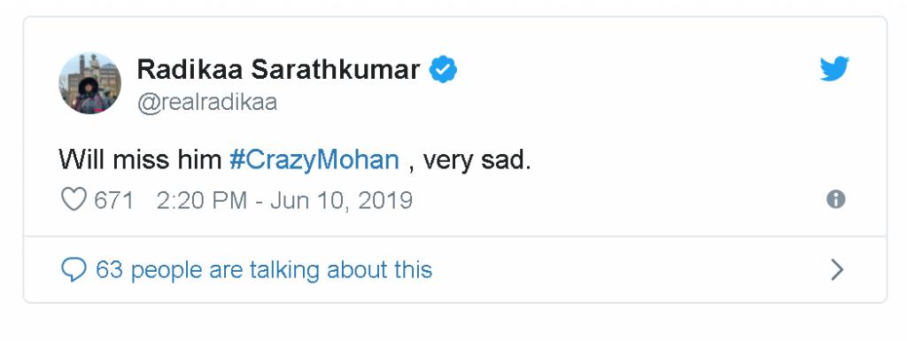 actressradhika-1024x385 Veteran Actor Crazy Mohan is no more